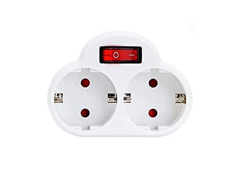Schuko-Adapter mit 2 Steckdosen und Schalter,...