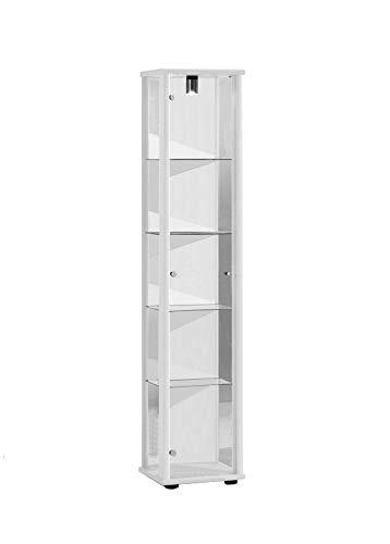 K-Möbel Glasvitrine in Weiss (176x37x33 cm) mit 4...