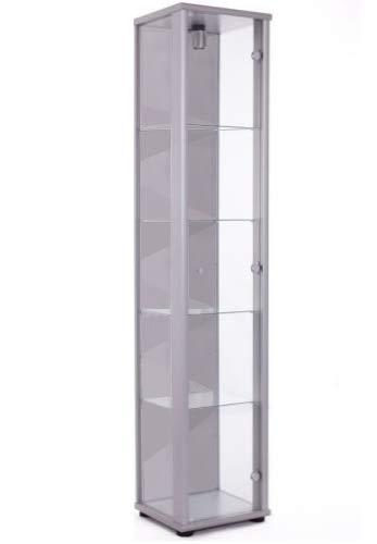 K-Möbel Glasvitrine in Silber (176x37x33 cm) mit...