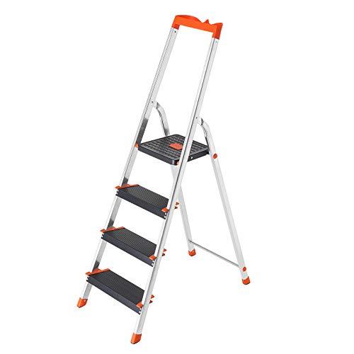 SONGMICS Leiter 4 Stufen, Aluleiter, 12 cm breite...