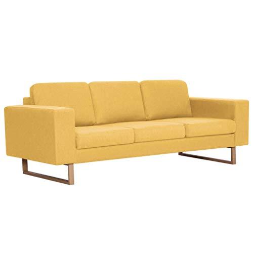 vidaXL Sofa 3-Sitzer mit Rückenkissen Sitzkissen...