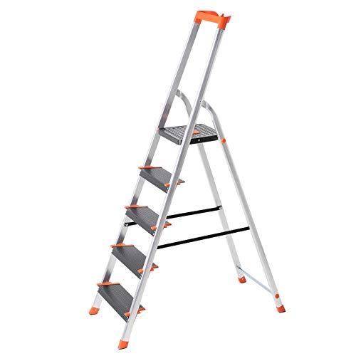 SONGMICS Leiter 5 Stufen, Aluleiter, 12 cm breite...