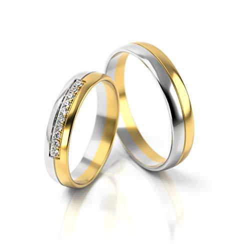 JC Trauringe Gold 750 Paarpreis Bicolor Gelbgold...