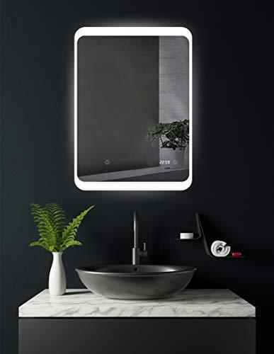 HOKO® LED Badspiegel mit digitaler Uhr, Weimar...