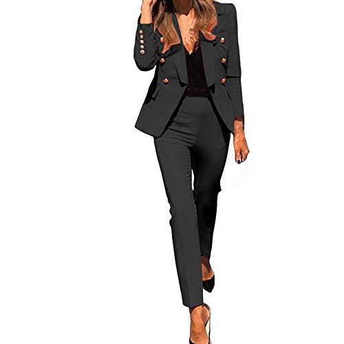 Vobery Damen 2-teiliges Anzug-Set Revers Business...
