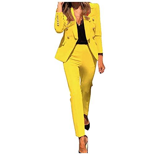Chejarity Damen Zweiteiliger Anzug Set Revers...