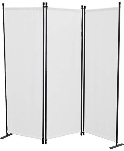 Paravent 3tlg. Weiß Sichtschutzwand