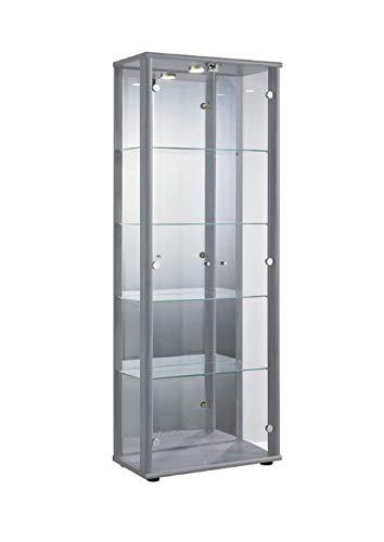 Markenlos Glasvitrine in Silber (176x67x33 cm) mit...
