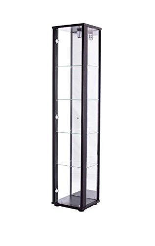K-Möbel Glasvitrine in Schwarz (176x37x33 cm) mit...