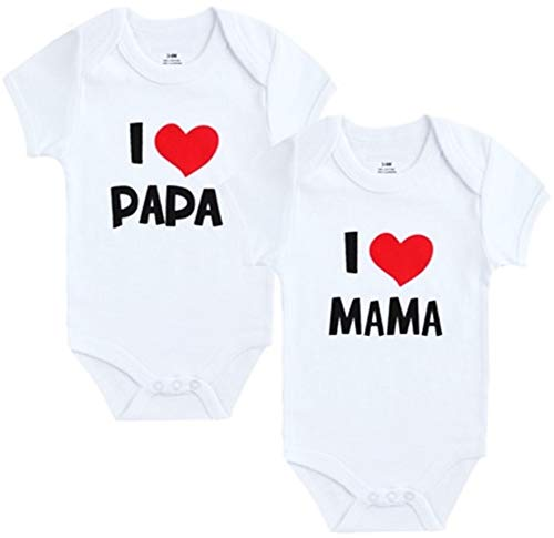 Unbekannt 2er Pack Baby Body weiß I Mama & I Papa...