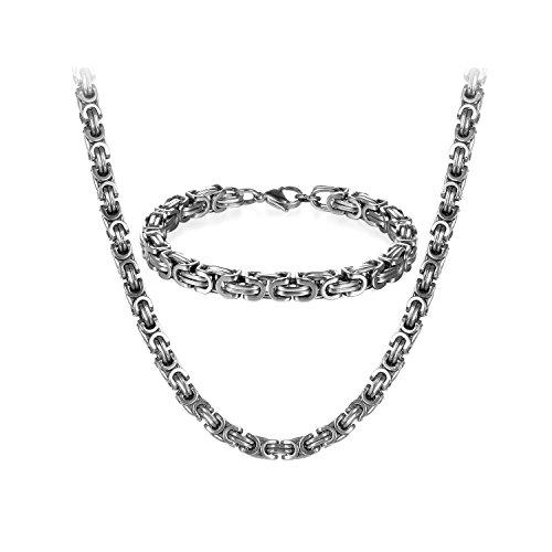 JewelryWe Schmuck Edelstahl Ketten Set von...
