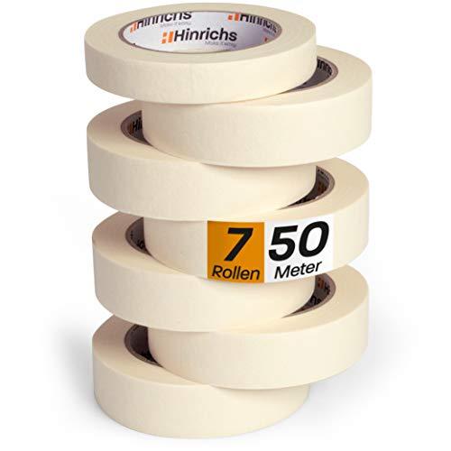 Hinrichs 7 x Kreppband - 6 Rollen 50 m x 30 mm + 1...