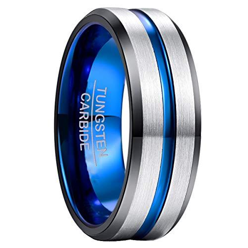 NUNCAD Ring Herren/Damen Wolfram Unisex Ring 8mm...