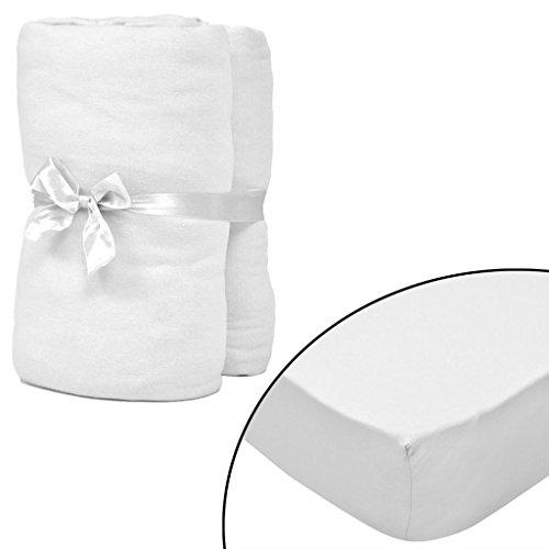Tidyard 2er Weiße Spannbettlaken Bettlaken für...