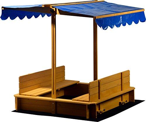 Sandkasten mit schwenkbarem Dach, Sitzbänke,...