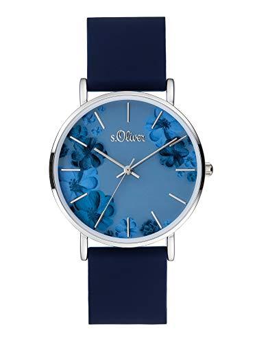 s.Oliver Damen Analog Quarz Uhr mit Silicone...