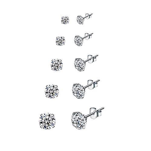 5 Paare 925 Silber Ohrringe Set Ohrstecker Damen...
