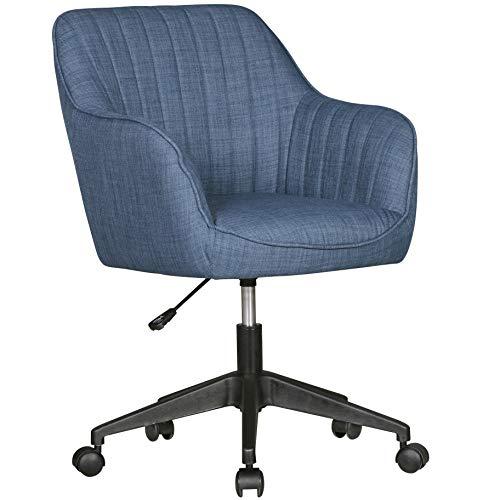FineBuy Schreibtischstuhl Vara Blau Stoff Design...