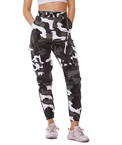 NEWISTAR Damen Sport Sweatshose Camouflage Gürtel...