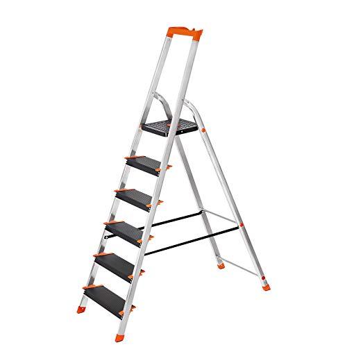 SONGMICS Leiter 6 Stufen, Aluleiter, 12 cm breite...