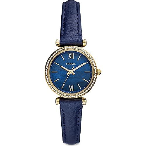 Fossil Damen Analog Quarz Uhr mit Leder Armband...