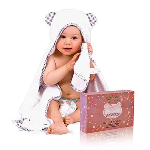 Kapuzenhandtuch Baby, 100% Bambus, weiß/grau,...