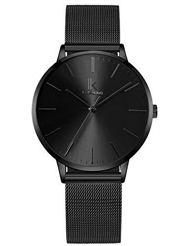 Alienwork Damen-Armbanduhr Quarz schwarz mit...