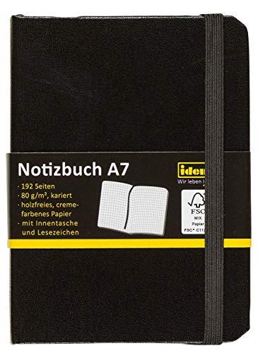 Idena 209283 - Notizbuch DIN A7, FSC-Mix, kariert,...