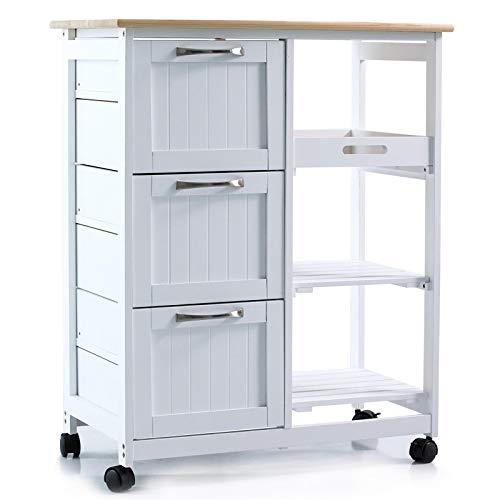 Küchenwagen auf Rollen, Servierwagen mit 3...