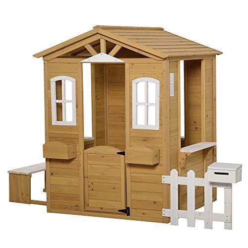 Outsunny Kinderspielhaus mit Fenster Briefkasten...