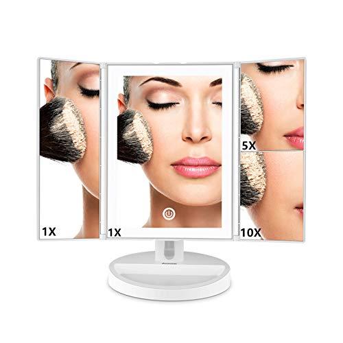 Auxmir Kosmetikspiegel LED, 3 Seiten Makeup...