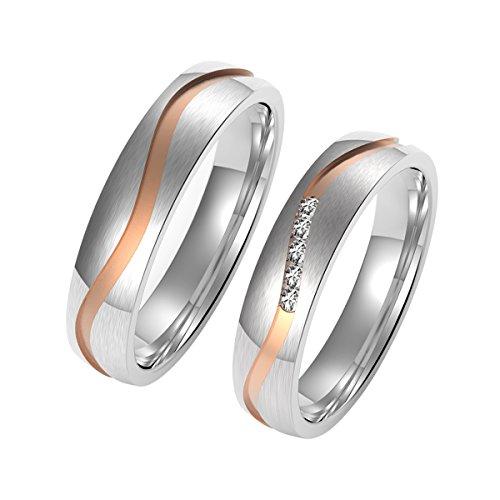 Amtier Edelstahl Ehering Paar Ring Rose Gold mit...