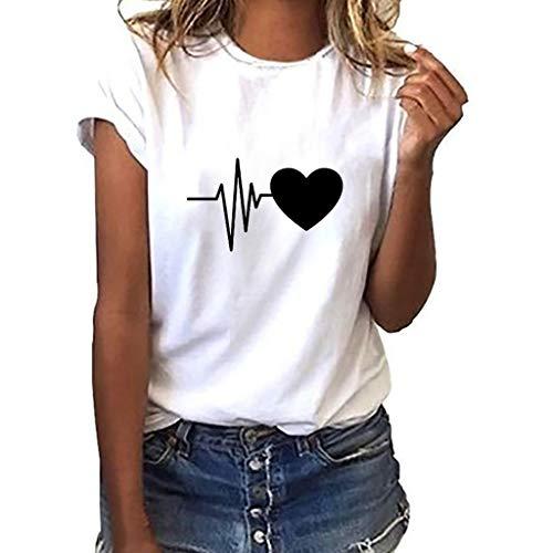 iHENGH Damen Top Bluse Bequem Lässig Mode T-Shirt...