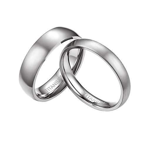 Mabohity Damen-Ring Titan-Ring Titanium 4mm Breit...