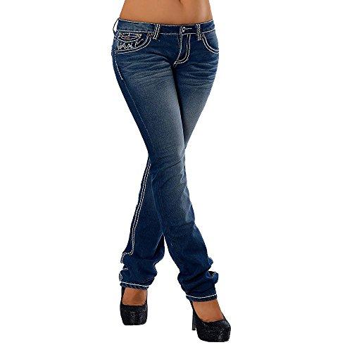 H922 Damen Bootcut Jeans Hose Damenjeans...