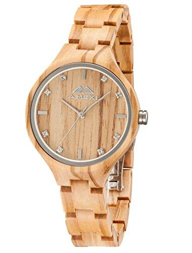 Amexi Holzuhren Damen Frauen Uhr Holz Armbanduhr...