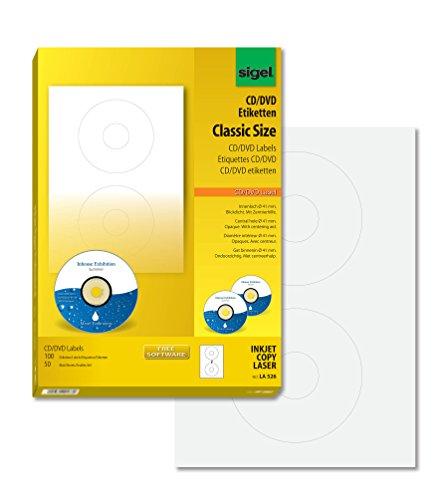 SIGEL LA526 CD-/DVD-Etiketten weiß,  blickdicht,...