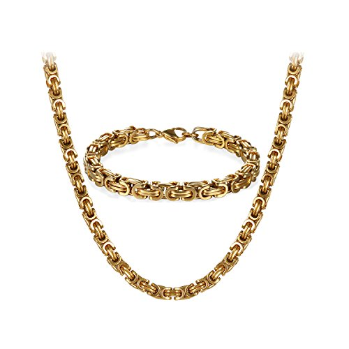 OIDEA Königskette Gold Herren Halskette Armband...