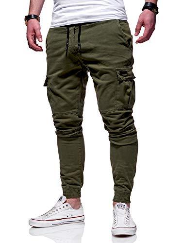 behype. Herren Cargo Chino-Hose Jogger Jeans-Hose...