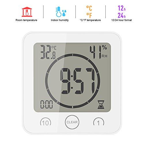 ONEVER Badezimmer-Uhr Digitale Luftfeuchtigkeit...