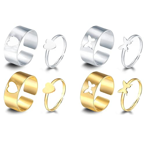 Gloryit 4 Paar Ringe Couple Ring...