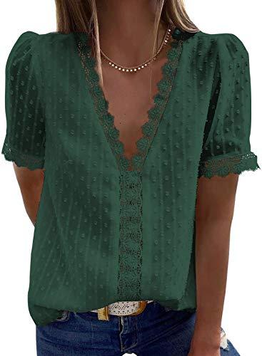 Elegancity Damen Bluse Spitzen Hemd V Ausschnitt...