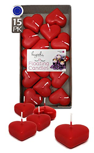 Hyoola Premium Schwimmkerzen in Herzform, 4,6 cm,...
