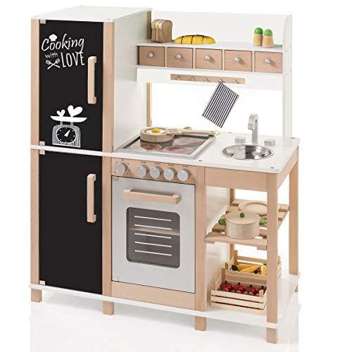 SUN Kinderküche Spielküche aus Holz mit Tafel...