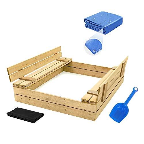 Sandkasten mit Deckel Sandbox 120x120 Sandkiste...