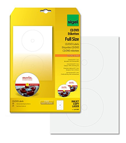 SIGEL LA505 CD-/DVD-Etiketten weiß, blickdicht,...