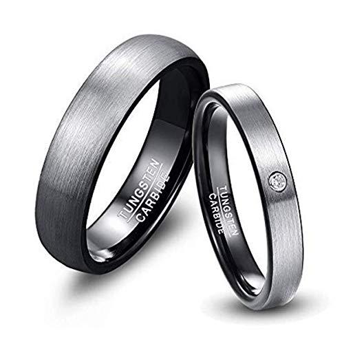 NUNCAD Herren-Ring Wolframcarbid Außenbreite 6mm...