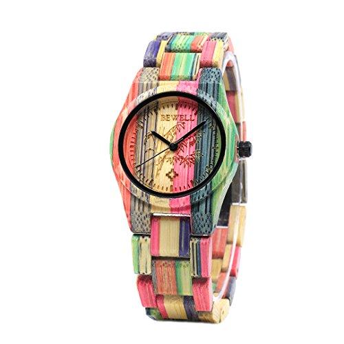 BEWELL Damen Uhr Holz Analog Japanisches Quarzwerk...