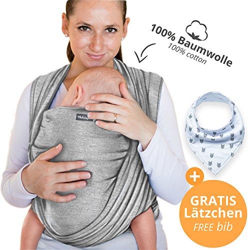 Babytragetuch aus 100% Baumwolle - Hellgrau –...