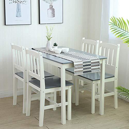 Essgruppe mit 1 Tisch 4 Stühle, Holz Tischgruppe...